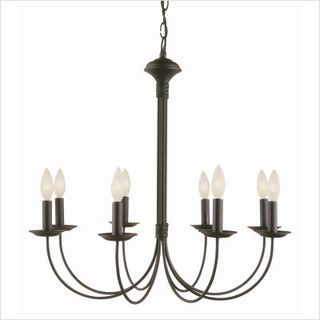 TRANS GLOBE LIGHTING NEW CENTURY COLLECTION 8 LIGHT CHANDELIER 9018 BK