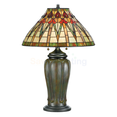 Wonderful Quoizel Lighting Tiffany Collection 2 Light Table Lamp With A Finish TF484T  FAMILY: Table Lamp PART NUMBER: TF484T DESIGN STYLE: Arts U0026 Crafts